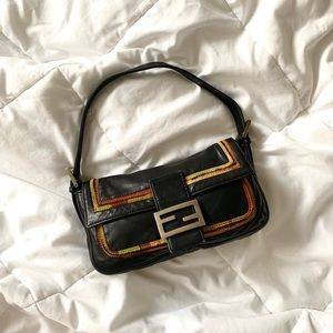 Rare Leather & Silk Fendi Baguette Bag